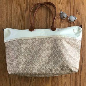 Handbags - Cream and tan print beach bag tote